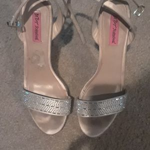 Betsy Johnson salmon colored sparkly heels